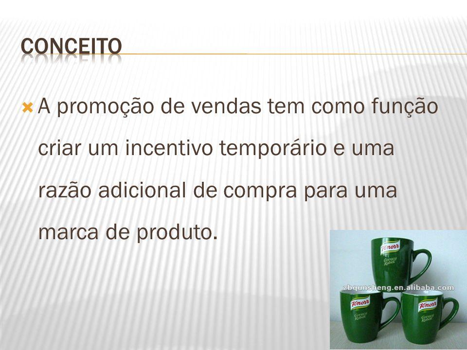 CONCEITO A promoção de vendas tem como função criar um incentivo temporário e uma razão adicional de compra para uma marca de produto.
