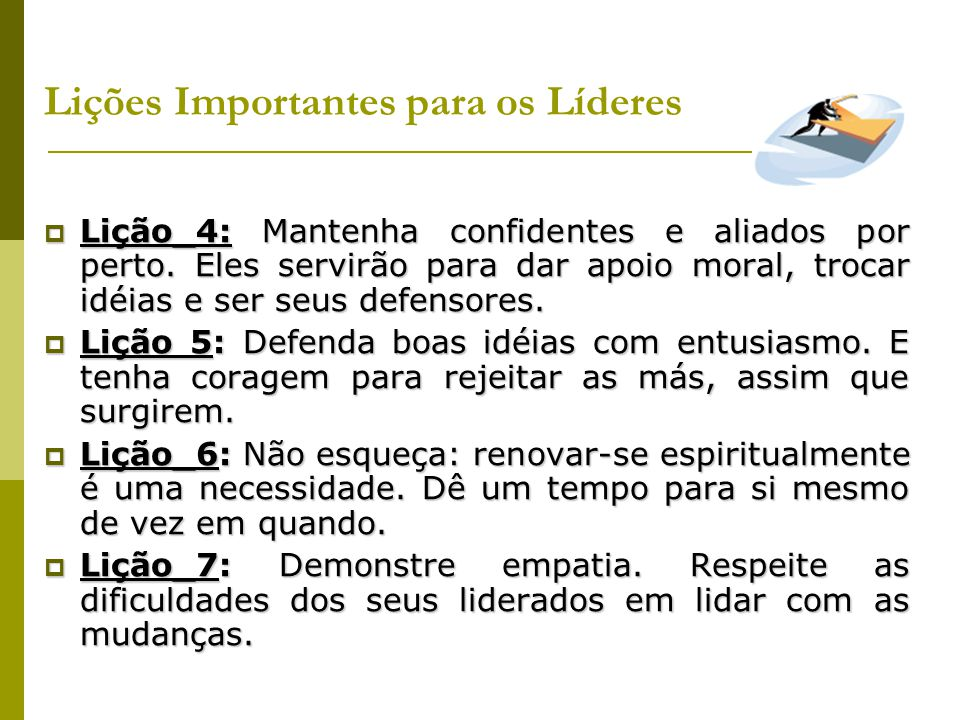 Lições Importantes para os Líderes
