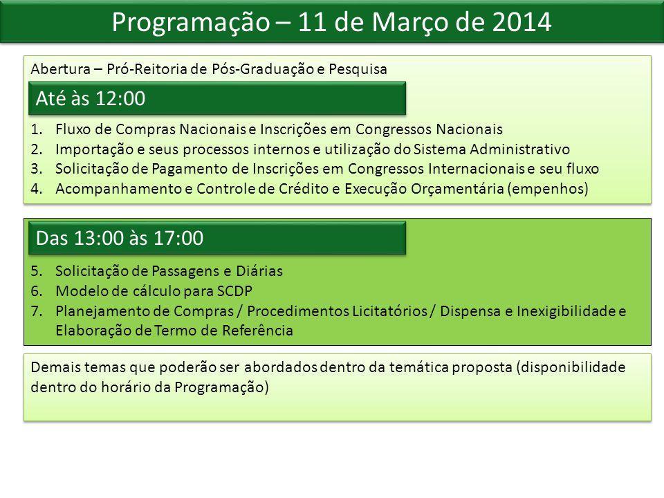 Programação – 11 de Março de 2014