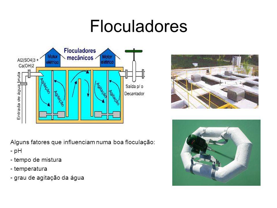 Floculadores Alguns fatores que influenciam numa boa floculação: - pH