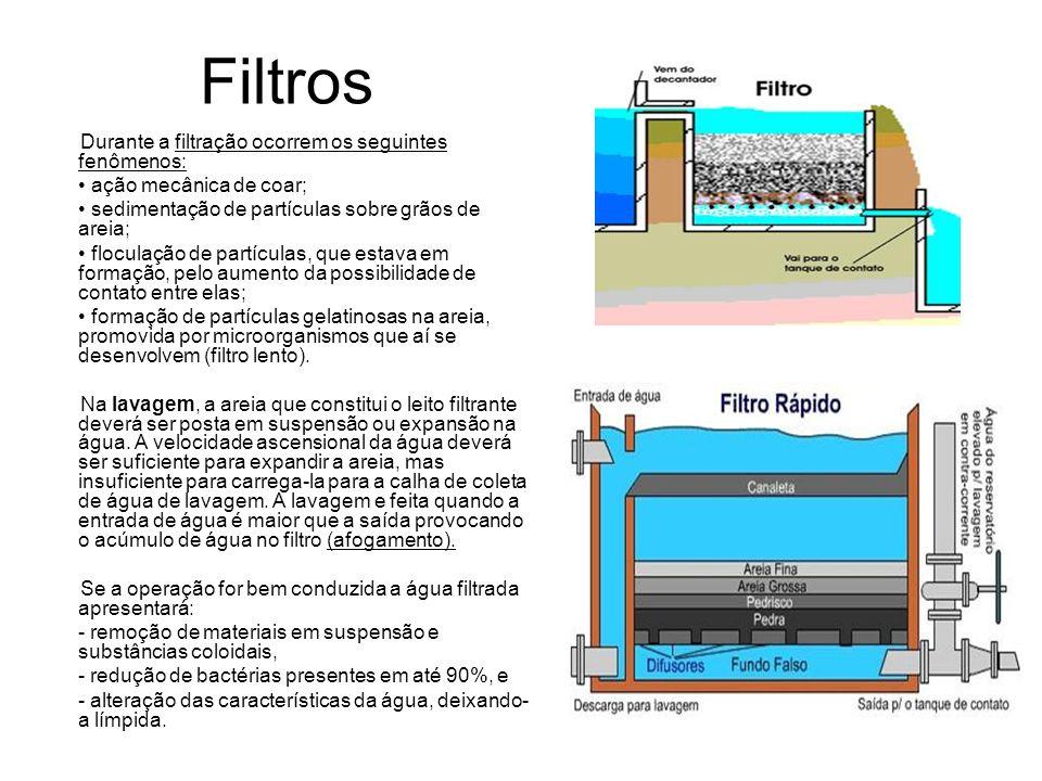 Filtros Durante a filtração ocorrem os seguintes fenômenos: