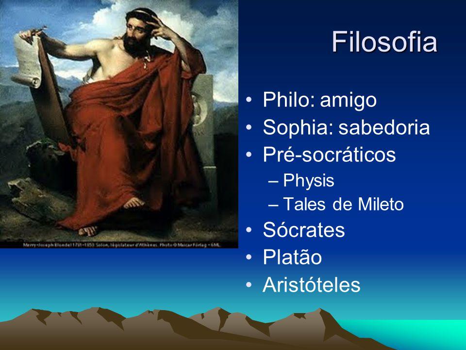 Filosofia Philo: amigo Sophia: sabedoria Pré-socráticos Sócrates