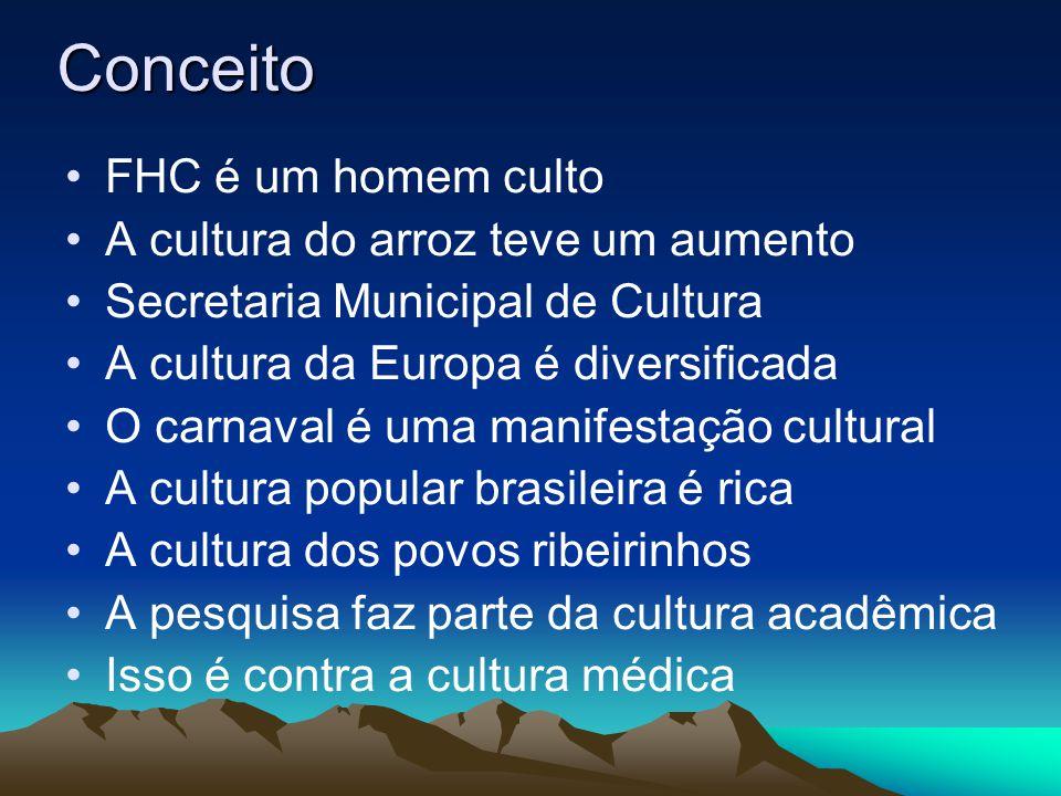 Conceito FHC é um homem culto A cultura do arroz teve um aumento