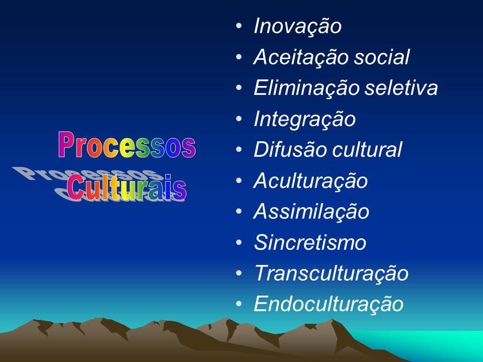 Processos Culturais Inovação Aceitação social Eliminação seletiva