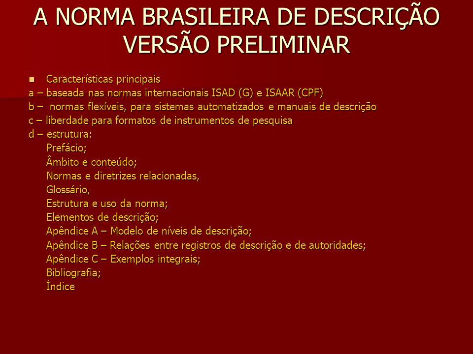 A NORMA BRASILEIRA DE DESCRIÇÃO VERSÃO PRELIMINAR