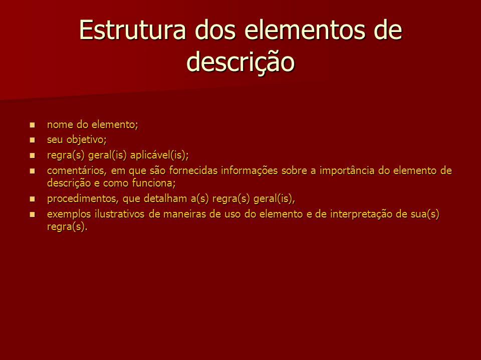 Estrutura dos elementos de descrição