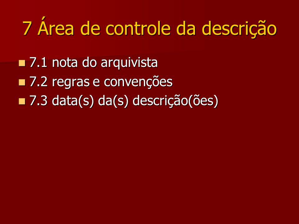 7 Área de controle da descrição