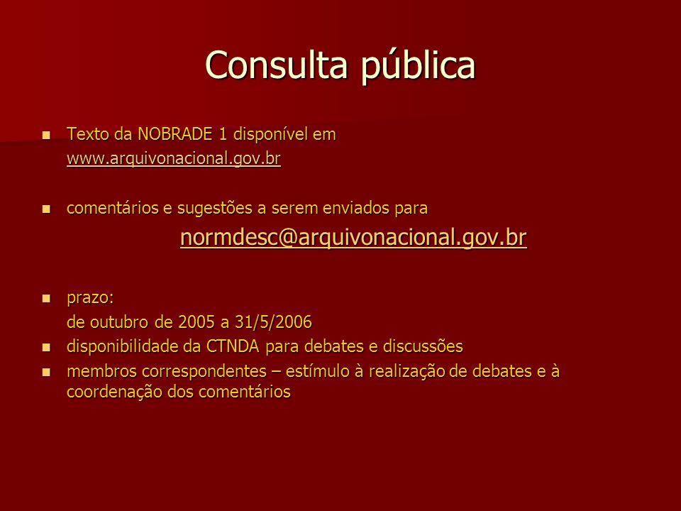 Consulta pública Texto da NOBRADE 1 disponível em