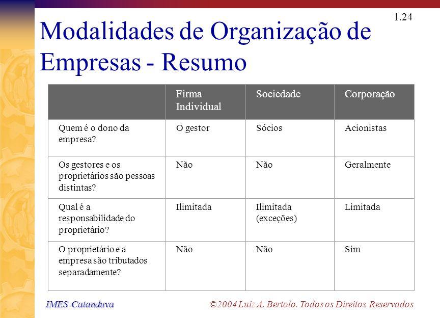 Modalidades de Organização de Empresas - Esquema
