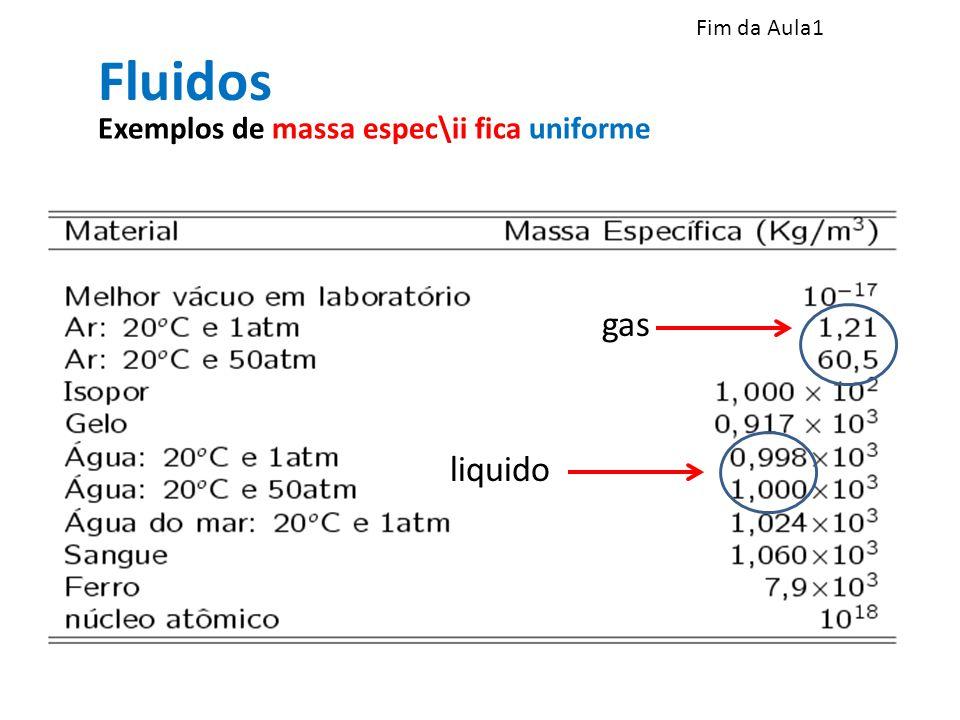 Fluidos gas liquido Exemplos de massa espec\ii fica uniforme