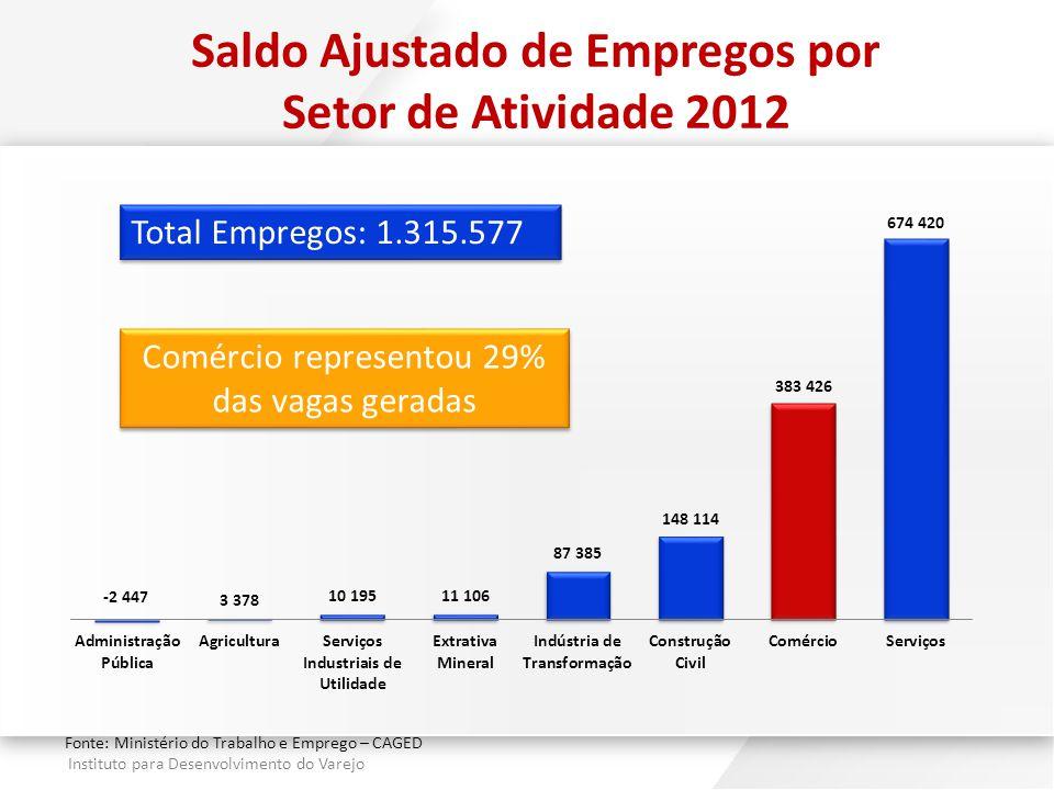 Saldo Ajustado de Empregos por Setor de Atividade 2012