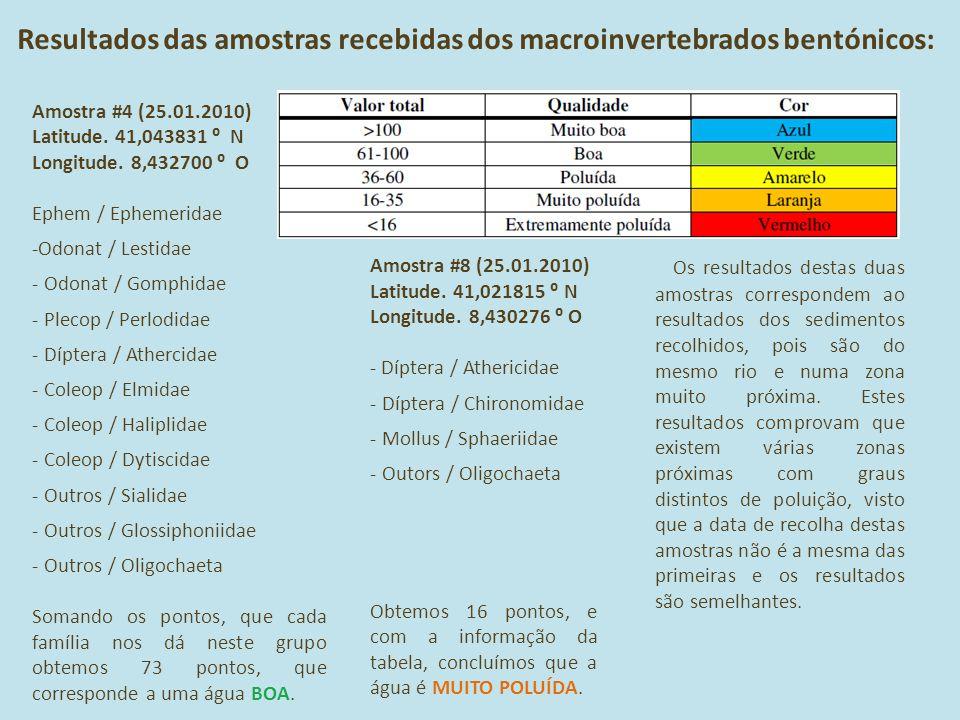Resultados das amostras recebidas dos macroinvertebrados bentónicos: