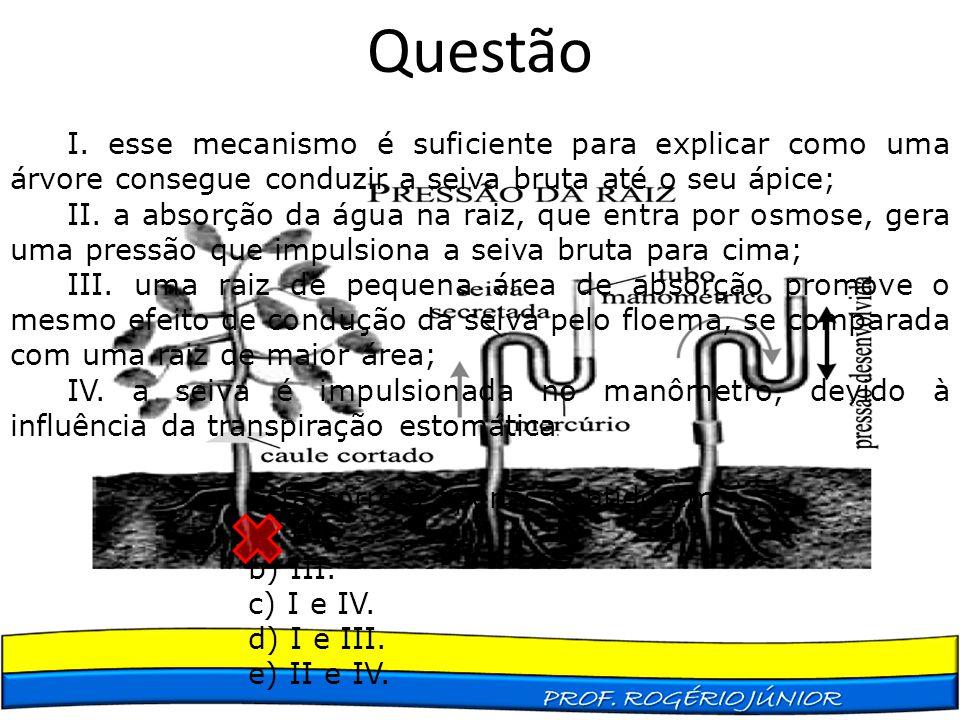 Questão I. esse mecanismo é suficiente para explicar como uma árvore consegue conduzir a seiva bruta até o seu ápice;
