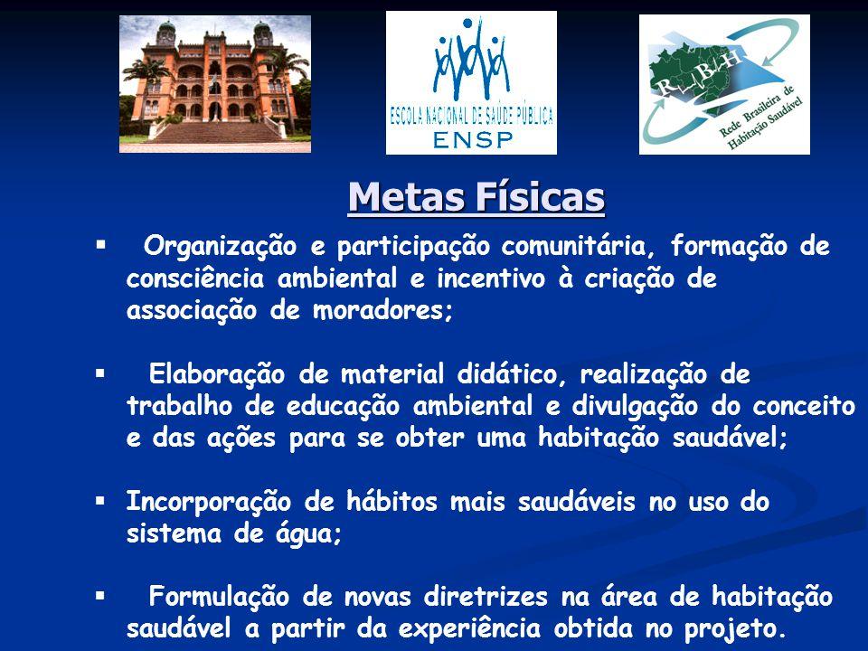 Metas Físicas Organização e participação comunitária, formação de consciência ambiental e incentivo à criação de associação de moradores;