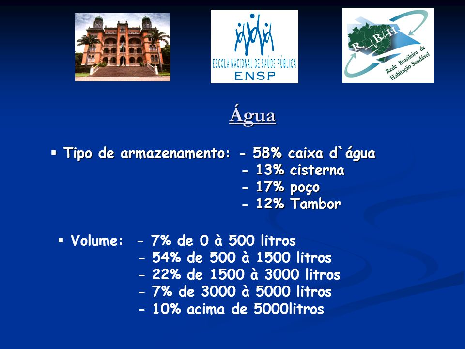 Água Tipo de armazenamento: - 58% caixa d`água - 13% cisterna