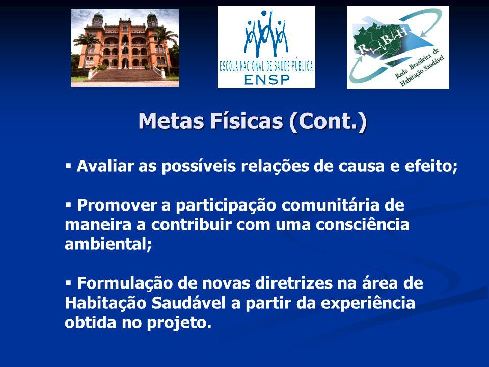 Metas Físicas (Cont.) Avaliar as possíveis relações de causa e efeito;