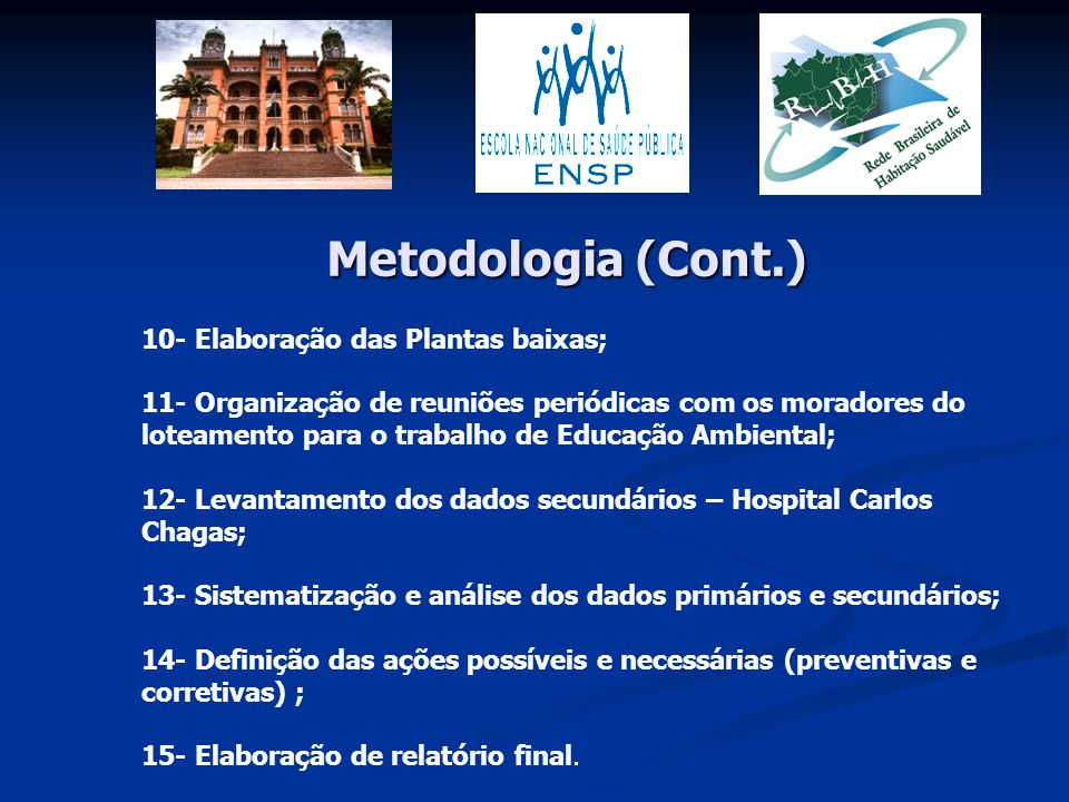 Metodologia (Cont.) 10- Elaboração das Plantas baixas;