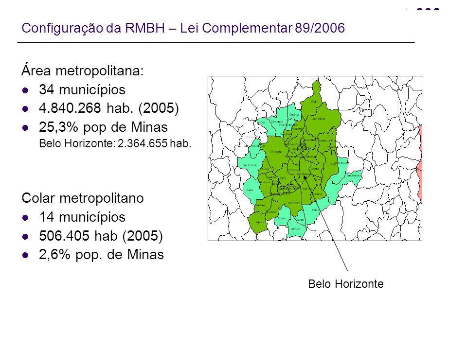 Área metropolitana: 34 municípios 4.840.268 hab. (2005)