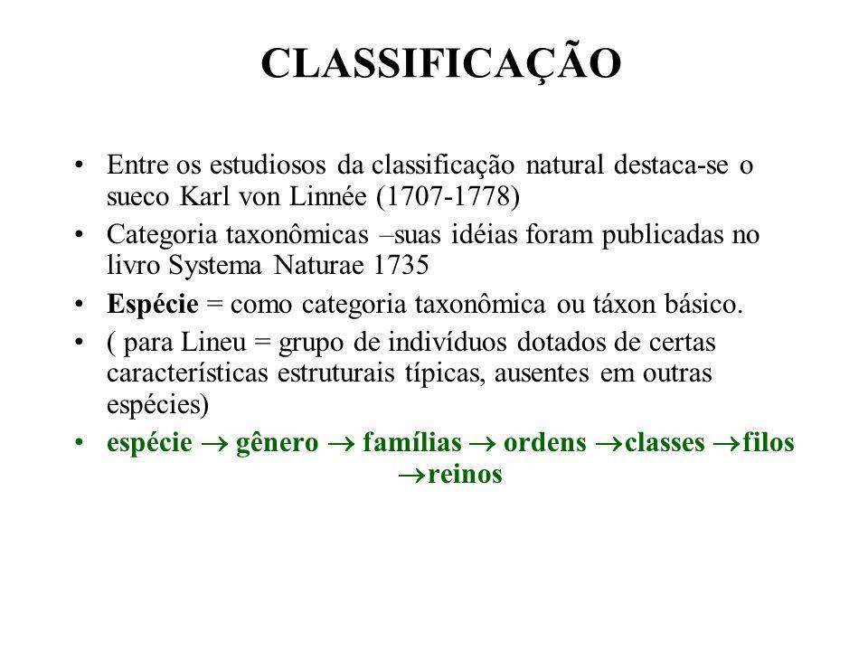 espécie  gênero  famílias  ordens classes filos reinos