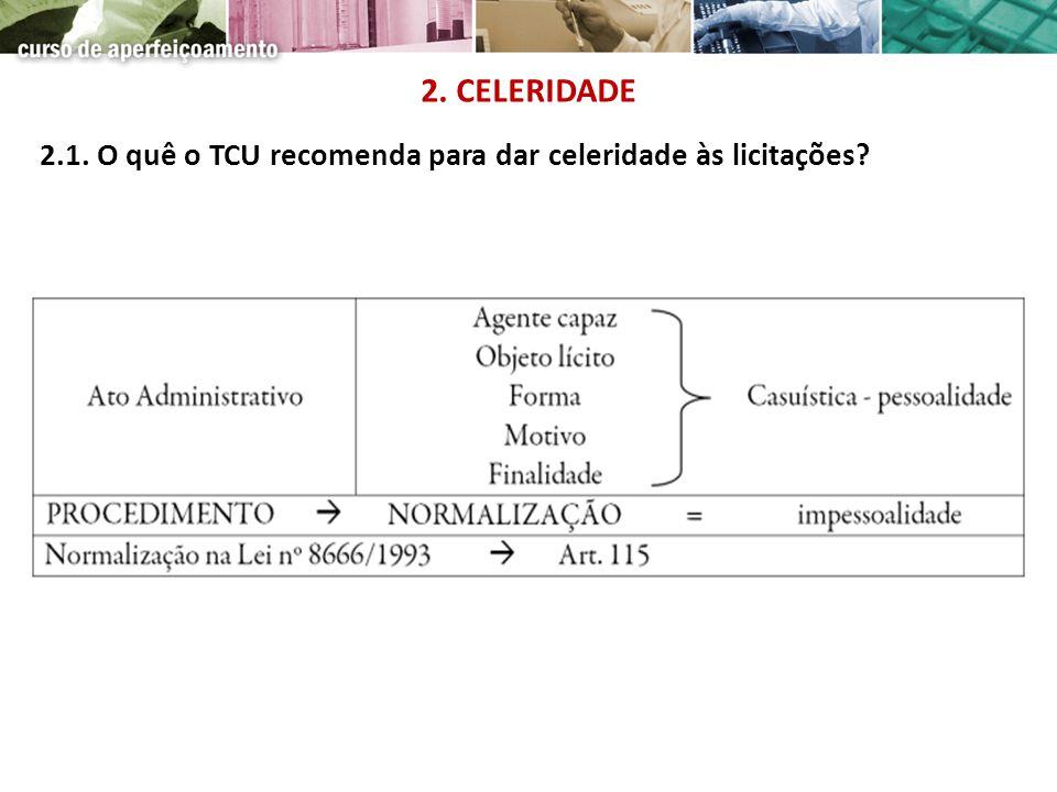 2. CELERIDADE 2.1. O quê o TCU recomenda para dar celeridade às licitações