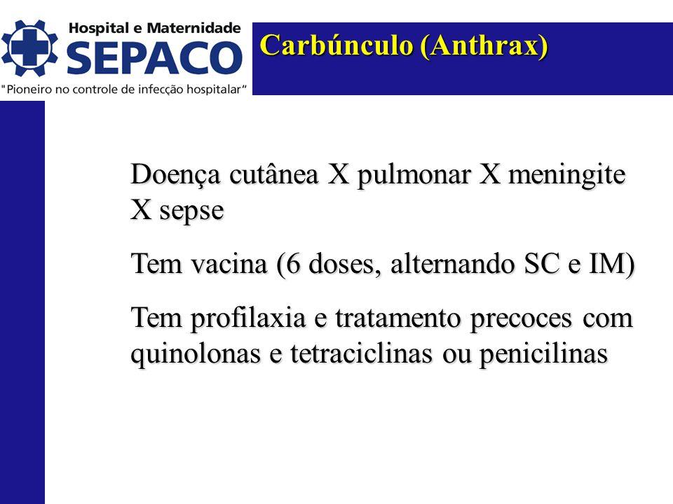 Carbúnculo (Anthrax) Doença cutânea X pulmonar X meningite X sepse. Tem vacina (6 doses, alternando SC e IM)