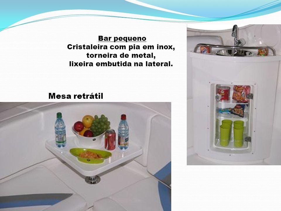 Mesa retrátil Bar pequeno Cristaleira com pia em inox,