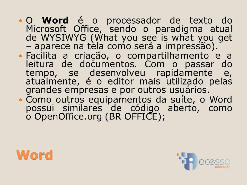O Word é o processador de texto do Microsoft Office, sendo o paradigma atual de WYSIWYG (What you see is what you get – aparece na tela como será a impressão).