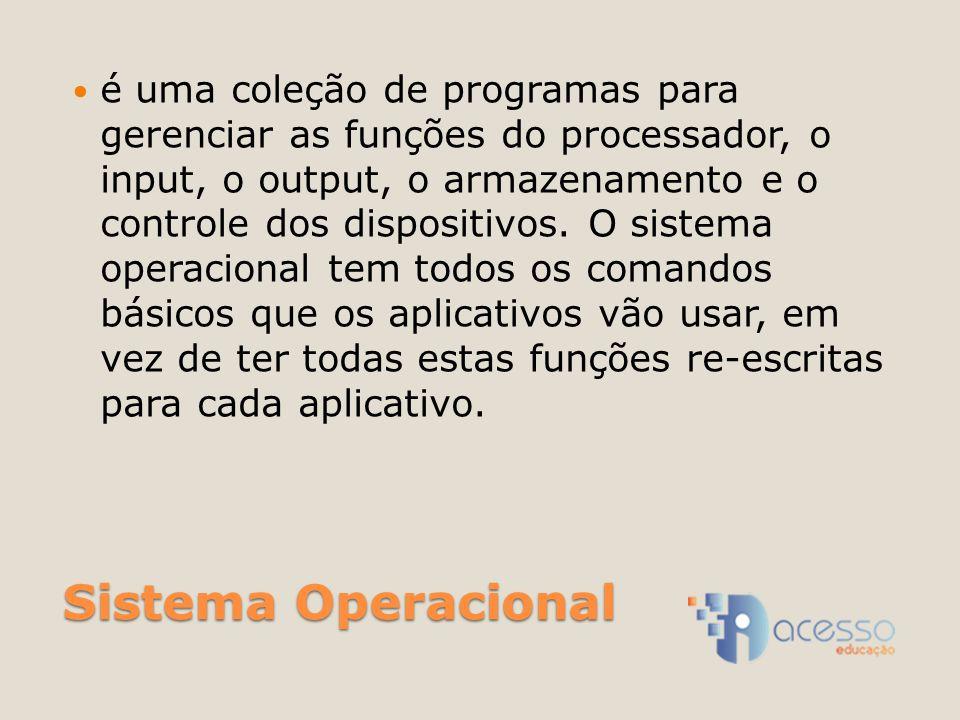 é uma coleção de programas para gerenciar as funções do processador, o input, o output, o armazenamento e o controle dos dispositivos. O sistema operacional tem todos os comandos básicos que os aplicativos vão usar, em vez de ter todas estas funções re-escritas para cada aplicativo.