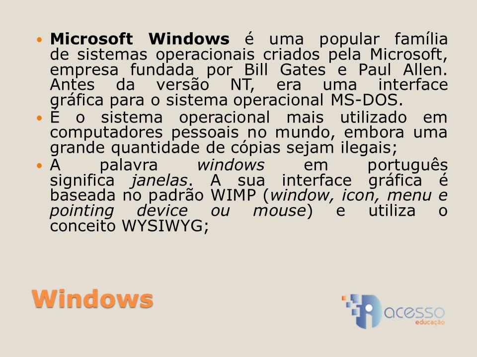 Microsoft Windows é uma popular família de sistemas operacionais criados pela Microsoft, empresa fundada por Bill Gates e Paul Allen. Antes da versão NT, era uma interface gráfica para o sistema operacional MS-DOS.