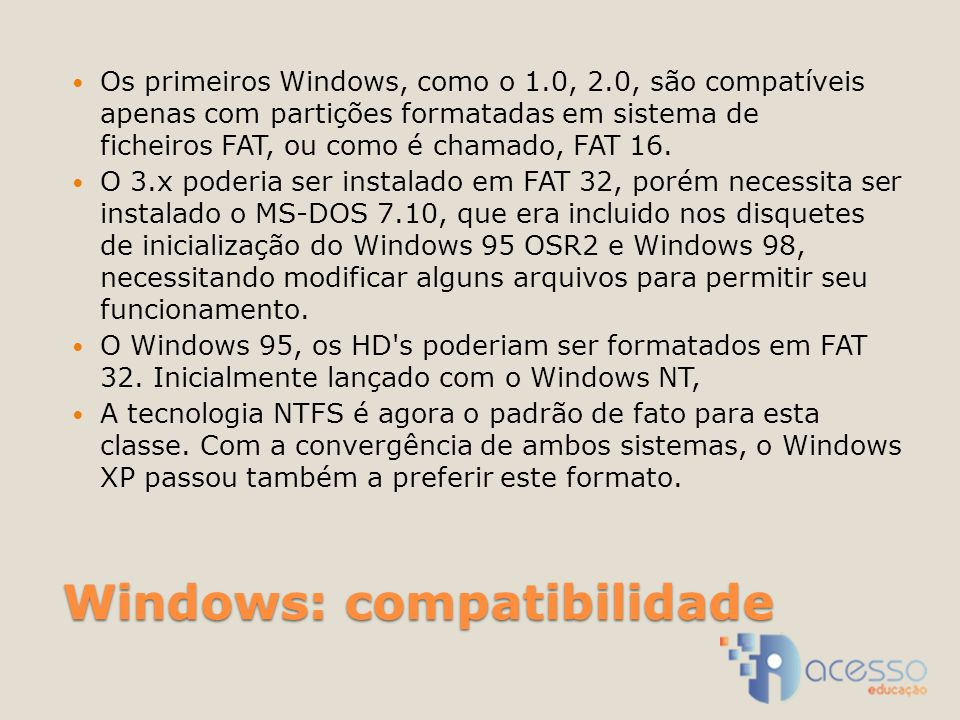 Windows: compatibilidade