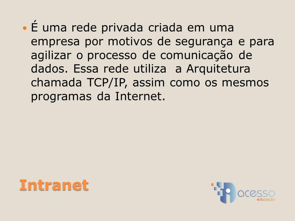 É uma rede privada criada em uma empresa por motivos de segurança e para agilizar o processo de comunicação de dados. Essa rede utiliza a Arquitetura chamada TCP/IP, assim como os mesmos programas da Internet.