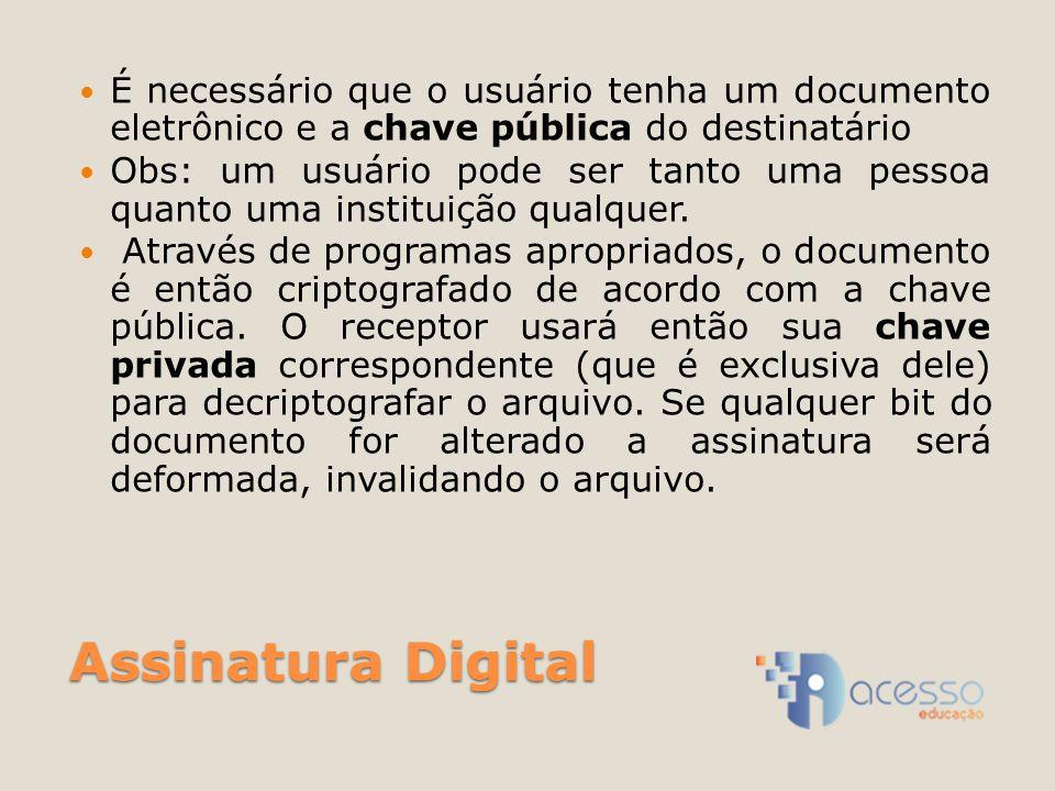É necessário que o usuário tenha um documento eletrônico e a chave pública do destinatário