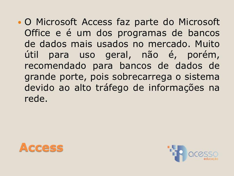 O Microsoft Access faz parte do Microsoft Office e é um dos programas de bancos de dados mais usados no mercado. Muito útil para uso geral, não é, porém, recomendado para bancos de dados de grande porte, pois sobrecarrega o sistema devido ao alto tráfego de informações na rede.