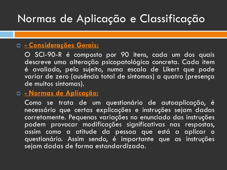 Normas de Aplicação e Classificação