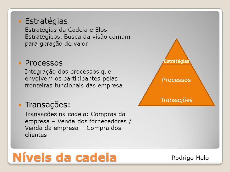 Níveis da cadeia Estratégias Processos Transações: