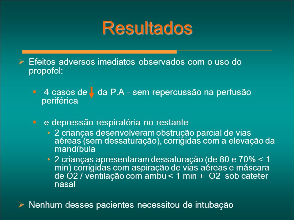 Resultados Efeitos adversos imediatos observados com o uso do propofol: 4 casos de da P.A - sem repercussão na perfusão periférica.