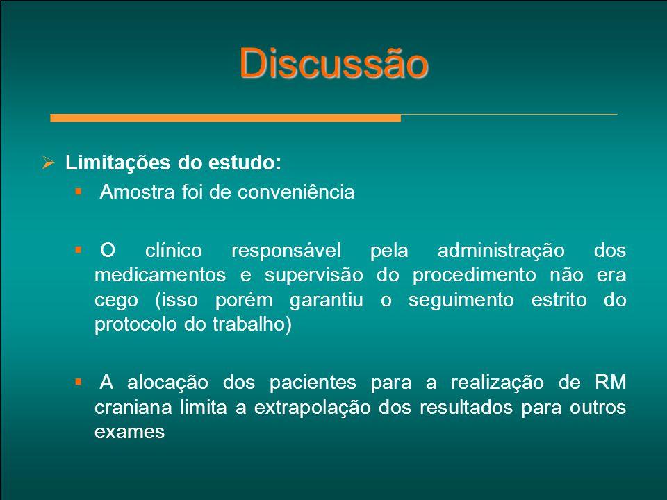 Discussão Limitações do estudo: Amostra foi de conveniência