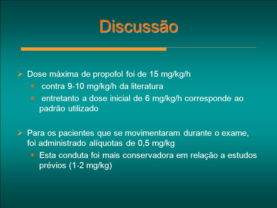Discussão Dose máxima de propofol foi de 15 mg/kg/h
