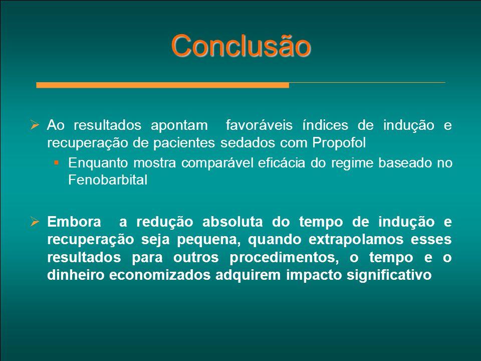 Conclusão Ao resultados apontam favoráveis índices de indução e recuperação de pacientes sedados com Propofol.