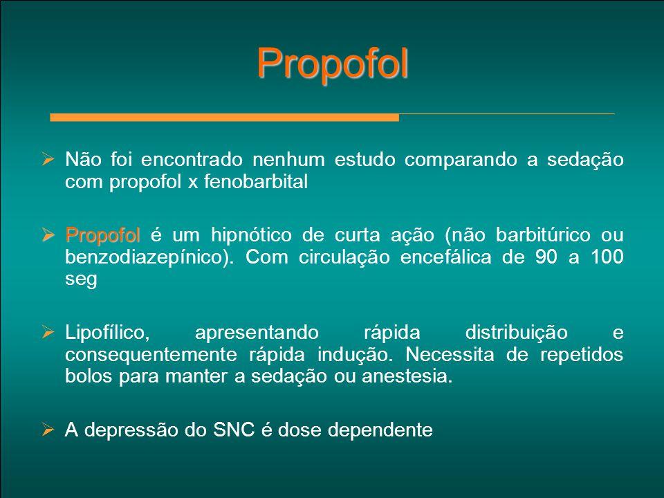 Propofol Não foi encontrado nenhum estudo comparando a sedação com propofol x fenobarbital.