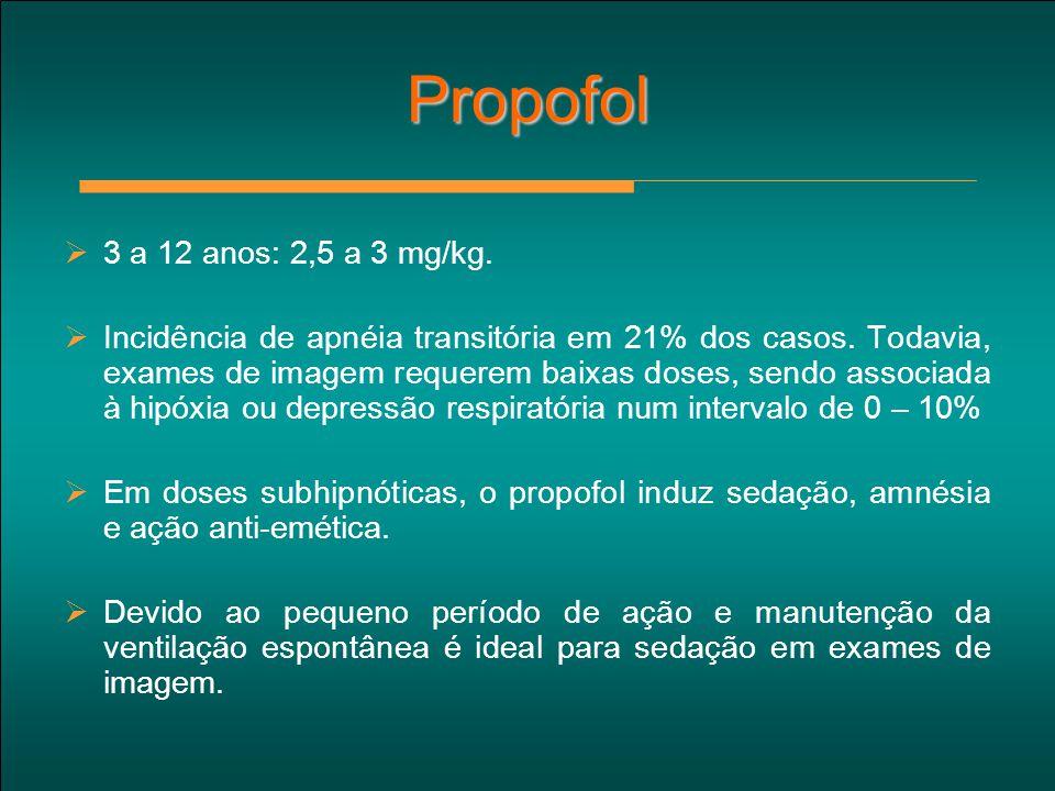 Propofol 3 a 12 anos: 2,5 a 3 mg/kg.
