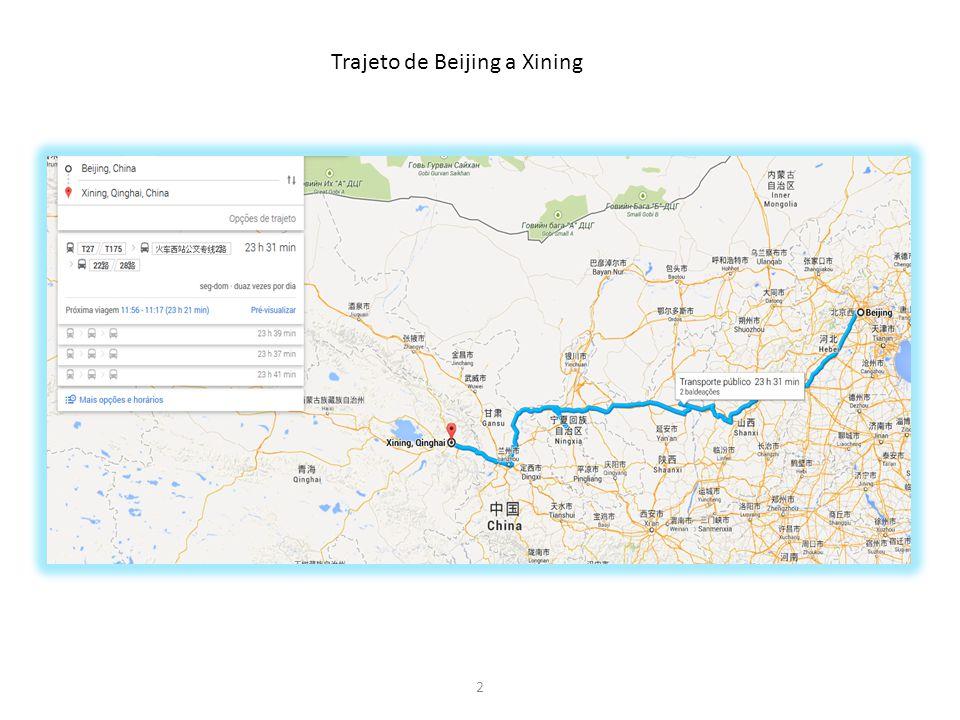Trajeto de Beijing a Xining