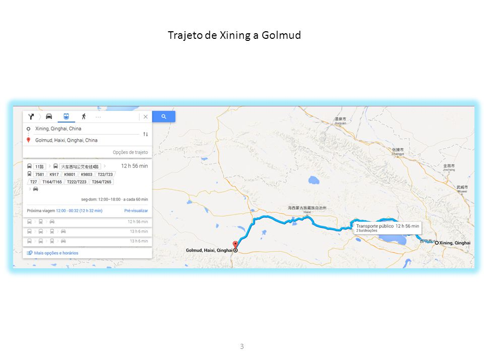 Trajeto de Xining a Golmud