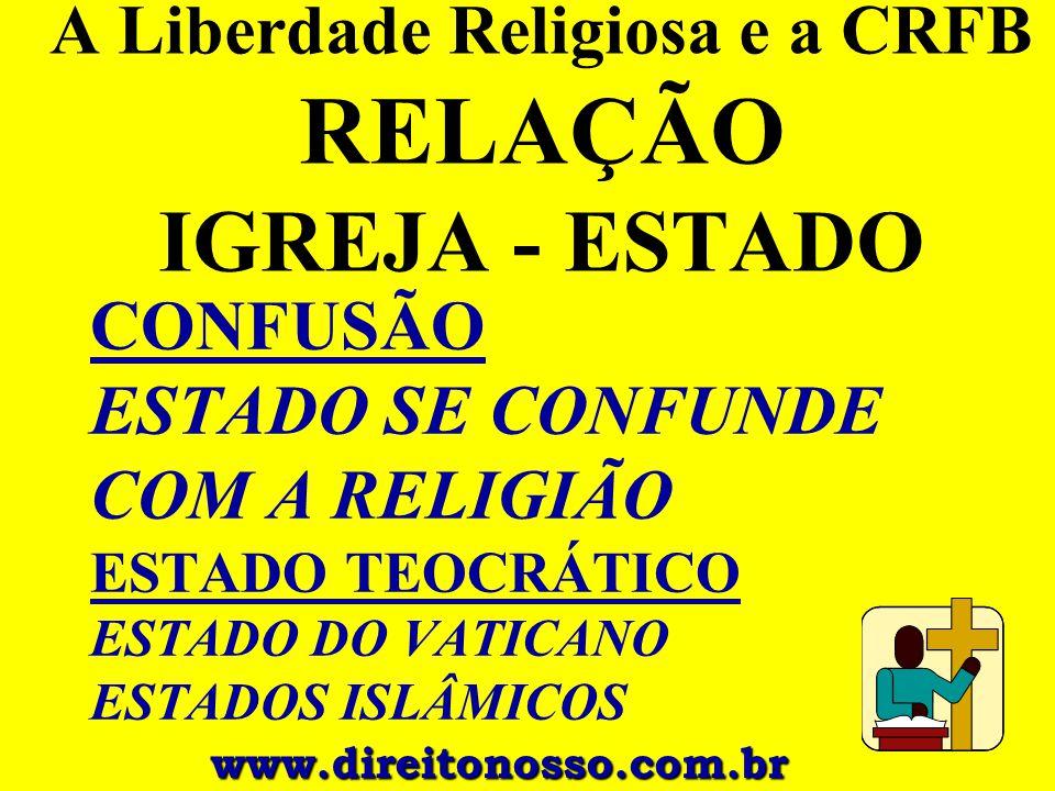 A Liberdade Religiosa e a CRFB RELAÇÃO IGREJA - ESTADO