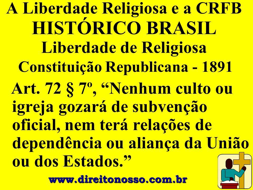 A Liberdade Religiosa e a CRFB HISTÓRICO BRASIL Liberdade de Religiosa