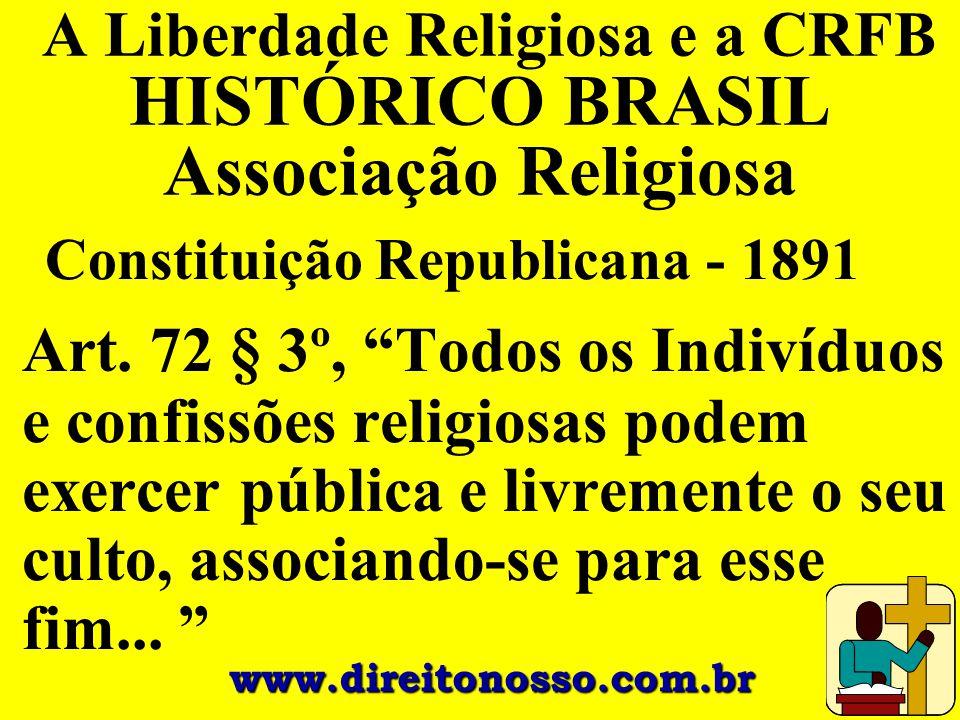 A Liberdade Religiosa e a CRFB HISTÓRICO BRASIL Associação Religiosa
