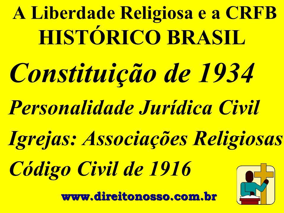 A Liberdade Religiosa e a CRFB HISTÓRICO BRASIL