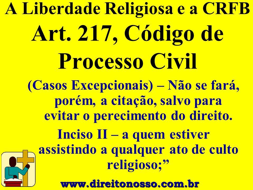 A Liberdade Religiosa e a CRFB Art. 217, Código de Processo Civil