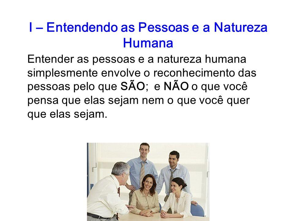 I – Entendendo as Pessoas e a Natureza Humana