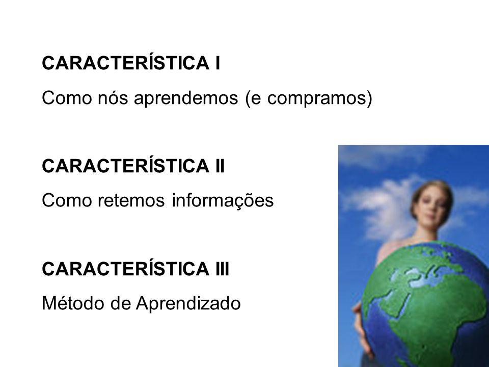 CARACTERÍSTICA I Como nós aprendemos (e compramos) CARACTERÍSTICA II. Como retemos informações. CARACTERÍSTICA III.